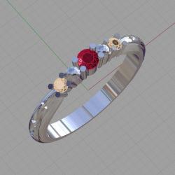 ルビーとブラウンダイアモンドの指輪のイメージ