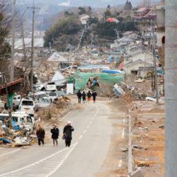 災害直後の大島の町並みみ