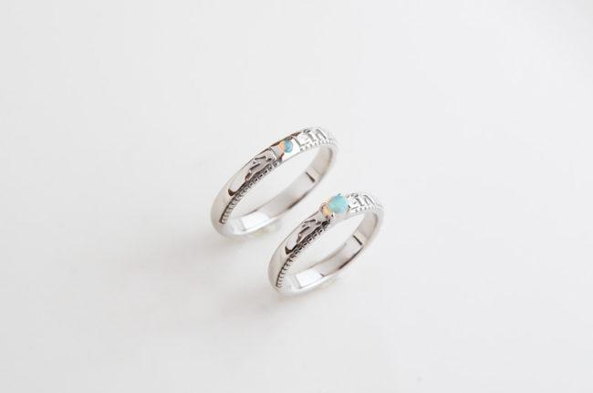 ペアの還暦指輪 オパール、PT900