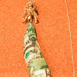 本物の米ドルを用いたジュエリー。