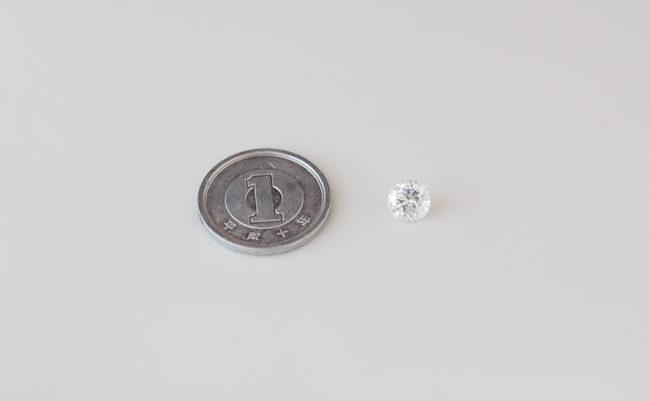 1ctダイヤモンドと1円玉