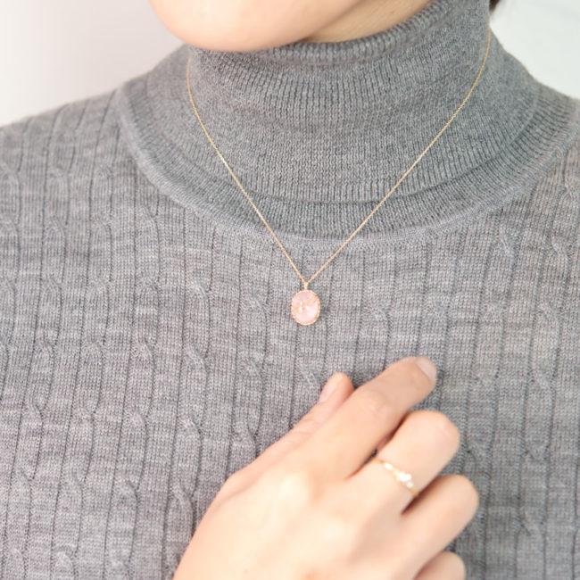 ルチルクオーツ×ピンクオパール K10 ネックレス