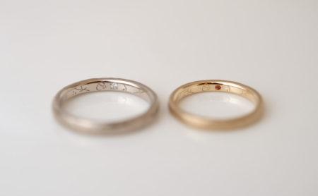 結婚指輪の内側に手彫り模様