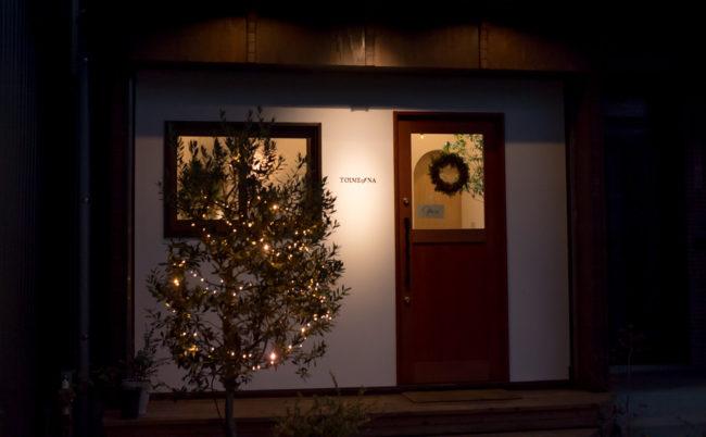 店頭のクリスマスイルミネーション